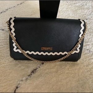 kate spade Bags - Kate Spade black leather clutch w scalloped piping